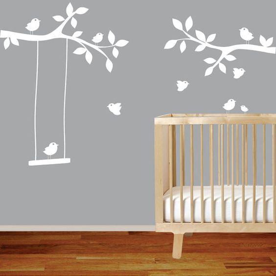 Calcomanias de ramas con aves para pared multigraphics for Calcomanias para pared